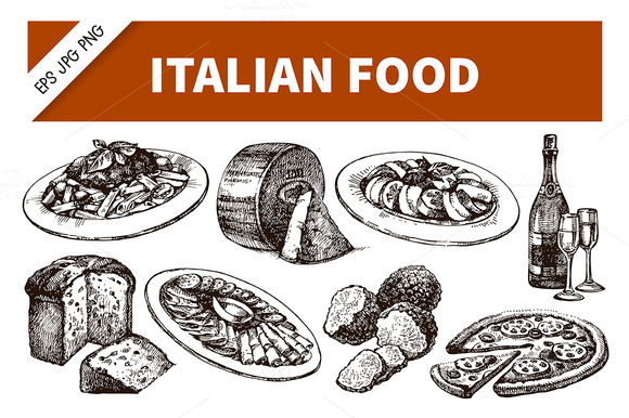 Hand Drawn Sketch Italian Food