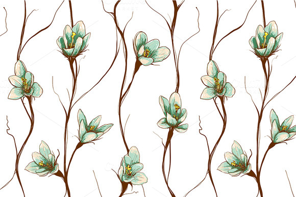 Vintage Flowers Seamless Pattern