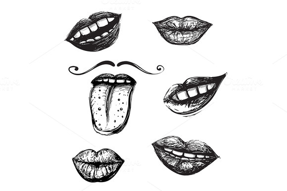 Mouth Illustration Drawing Inky Mouth Hand Drawn Set