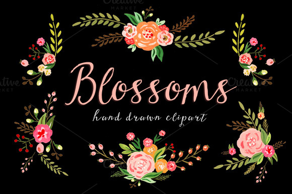 Blossoms Watercolor Floral ClipArt