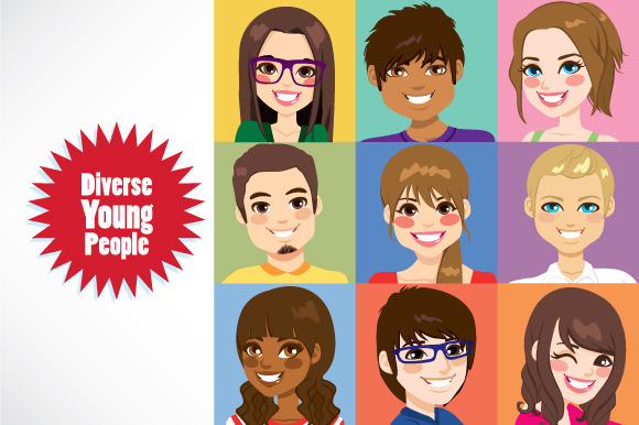 Diverse Young People Faces