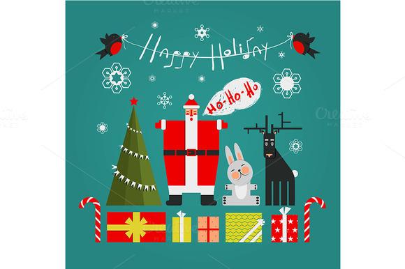 Santa With Gifts Presents Holiday