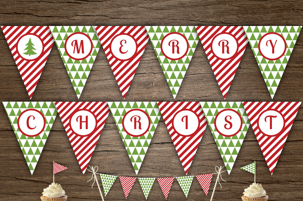 Red Green Merry Xmas Banner Templates On Creative Market