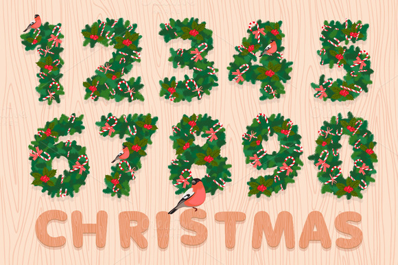 Christmas wreath numbers. Sale banne - Illustrations