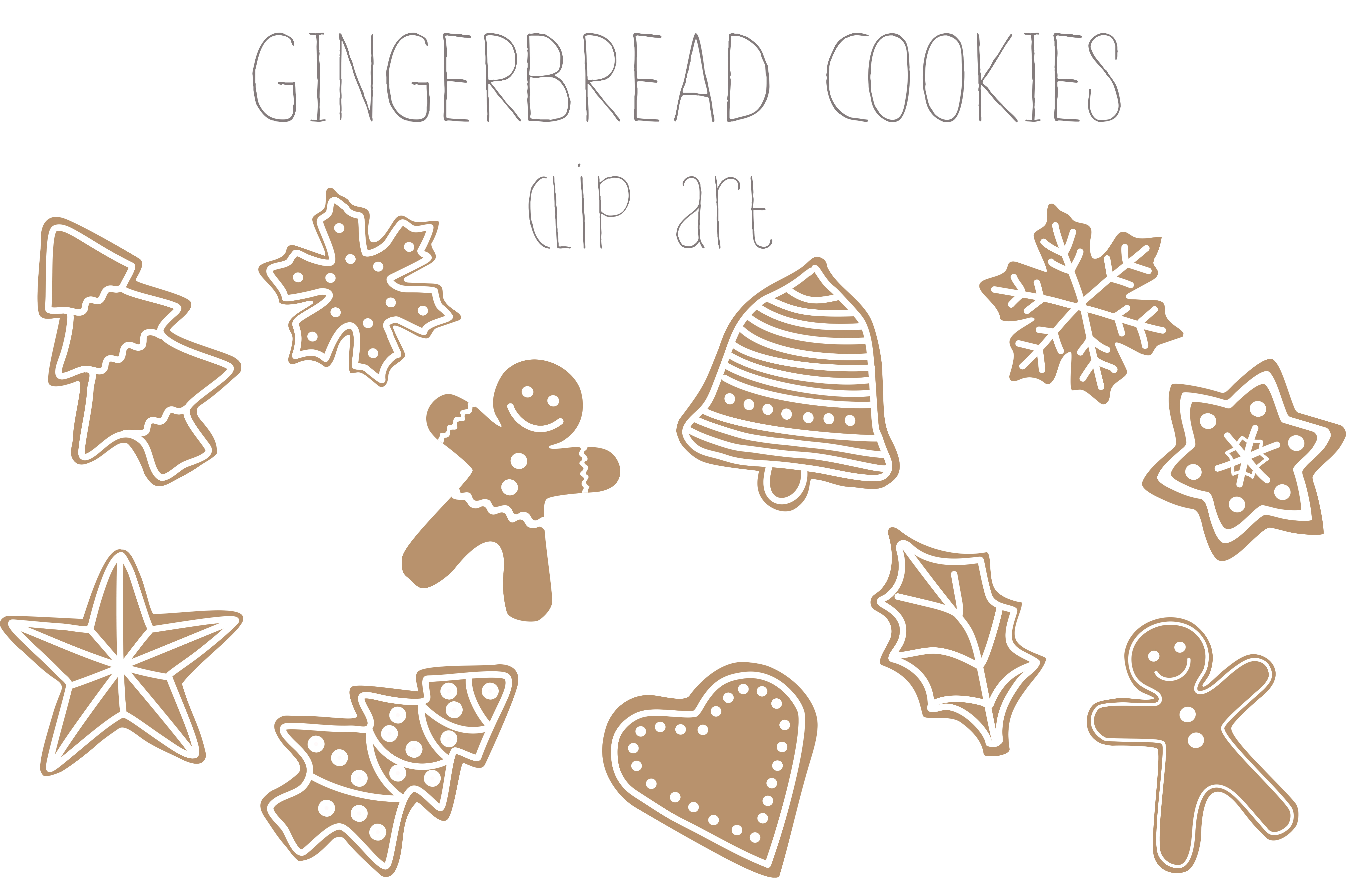 Gingerbread cookies clip art ~ Illustrations on Creative ...