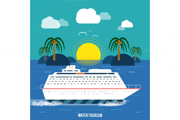 Cruise ship and clear blue water graphics on creative for Cruise ship brochure templates