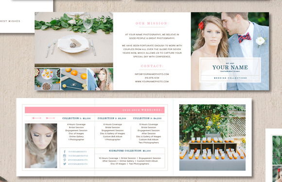 Price list for wedding photographers brochure templates for Photography brochure templates free