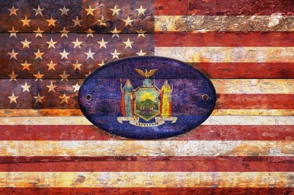 USA And New York Flags