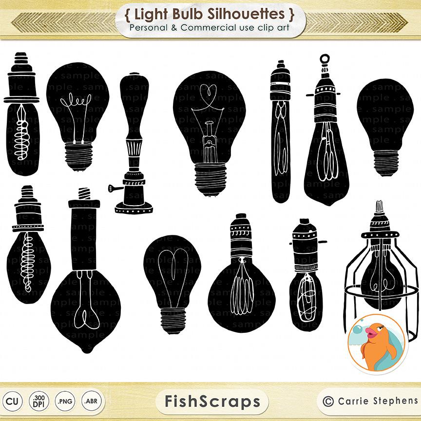 Vintage Edison Light Bulb Clip Art ~ Illustrations on ...