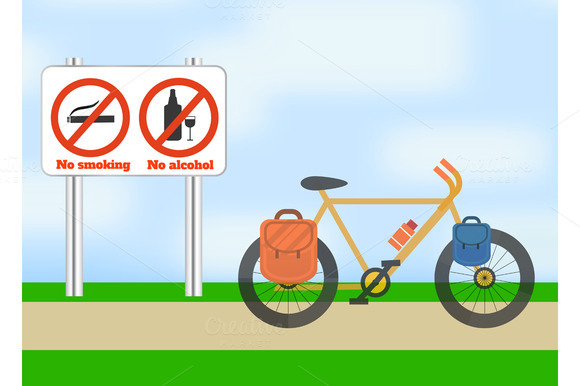 Bicycle on road. Sport. - Graphics