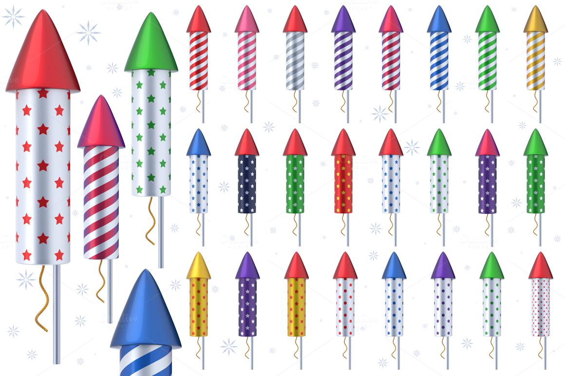 fireworks rockets 3d graphics on creative market. Black Bedroom Furniture Sets. Home Design Ideas
