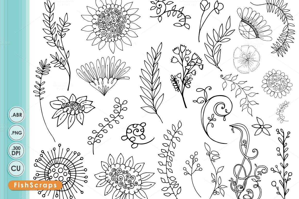 Wildflower Line Drawing : Boho wildflower line art silhouette illustrations on