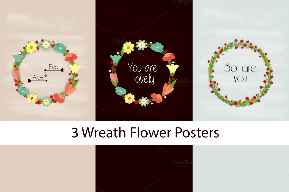 3 flower wreath posters