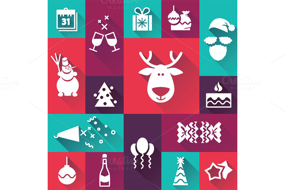 Christmas New Year Flat Icons