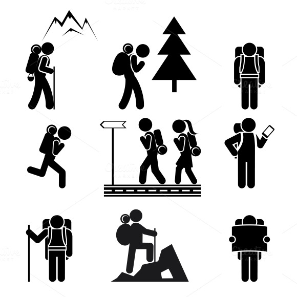 Hiking People Icons Icons On Creative Market