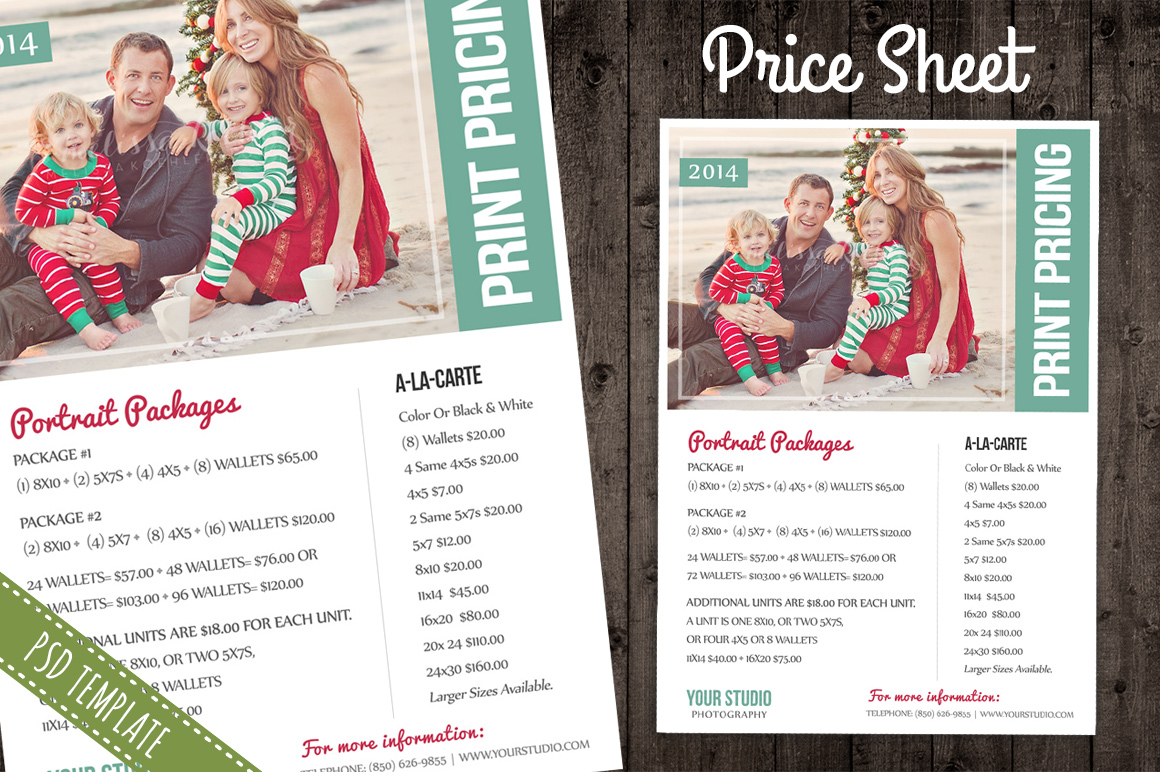 Book Cover Photography Price ~ Price sheet list psd template flyer templates on