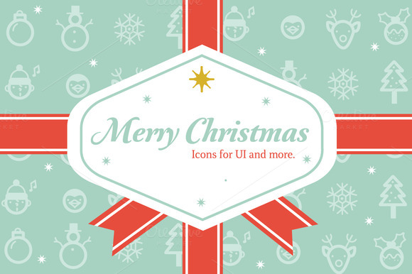 Merry Christmas Icon And Label