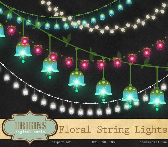 String Of Lights Illustration : Floral String Lights Clipart ~ Illustrations on Creative Market