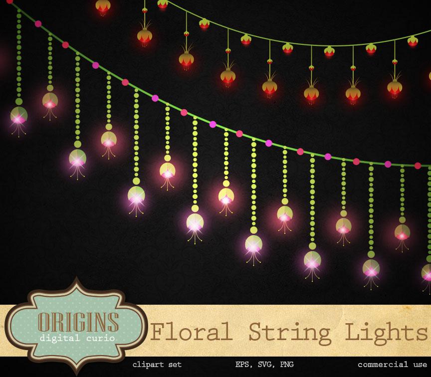 Floral String Lights Clipart ~ Illustrations on Creative Market