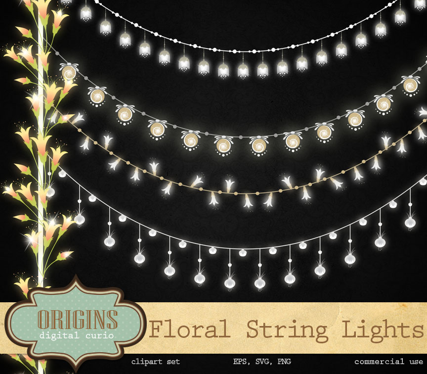 Floral String Lights Clipart ~ Illustrations on Creative Market