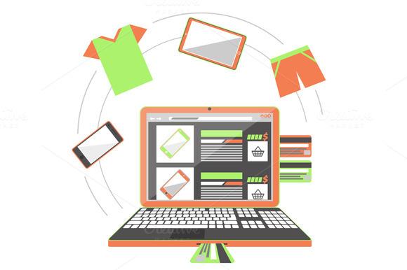 Set Internet Shopping Concept