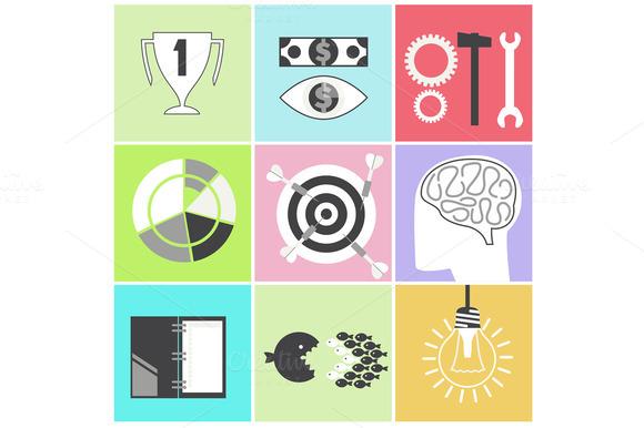 Icon Set Brain Light Bulb Darts Targ