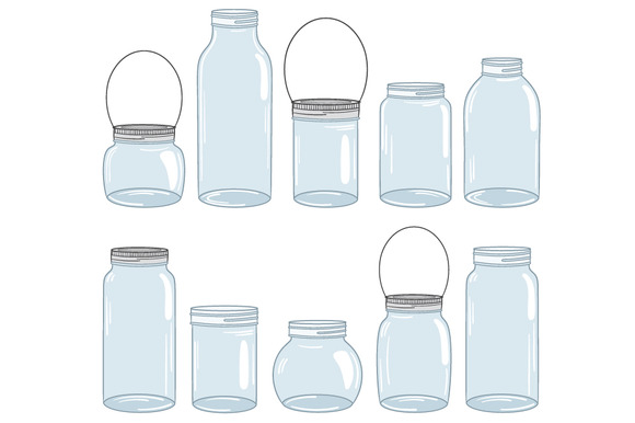 Blue Mason Jar Drawing Digital Mason Jar Set