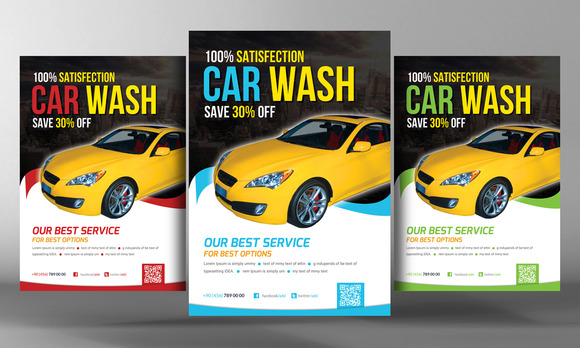car wash flyer template flyer templates on creative market. Black Bedroom Furniture Sets. Home Design Ideas