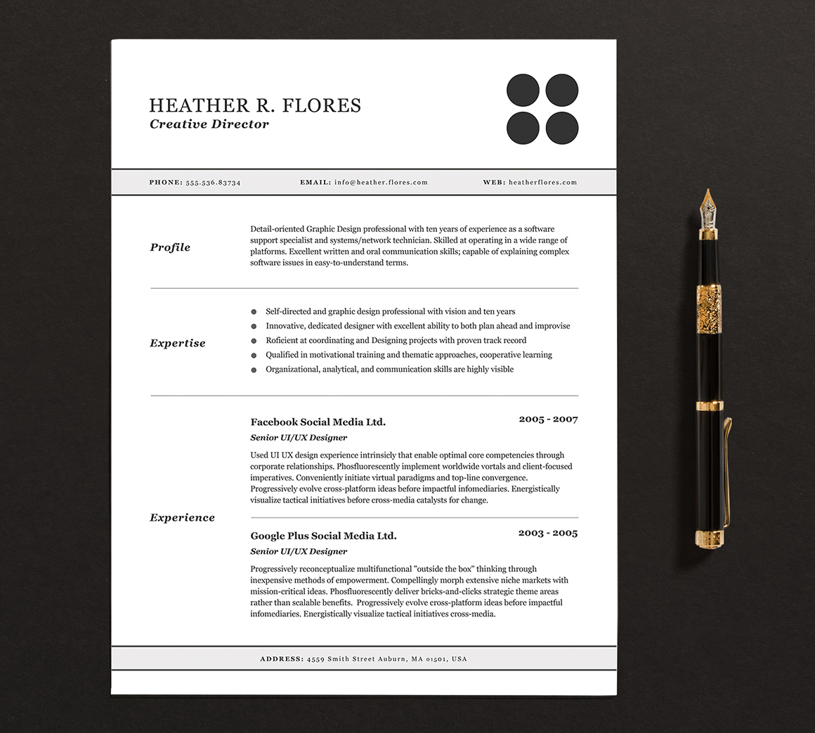 3 pages resume  cv template full set