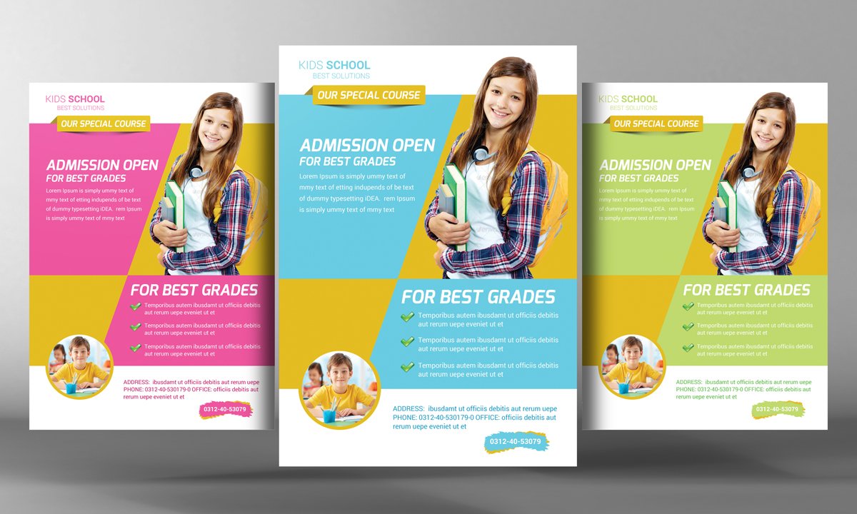 Kids school education flyer template flyer templates on for Free brochure templates for kids