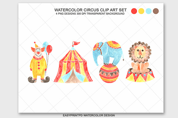 DigitalWatercolor Circus Clipart Set
