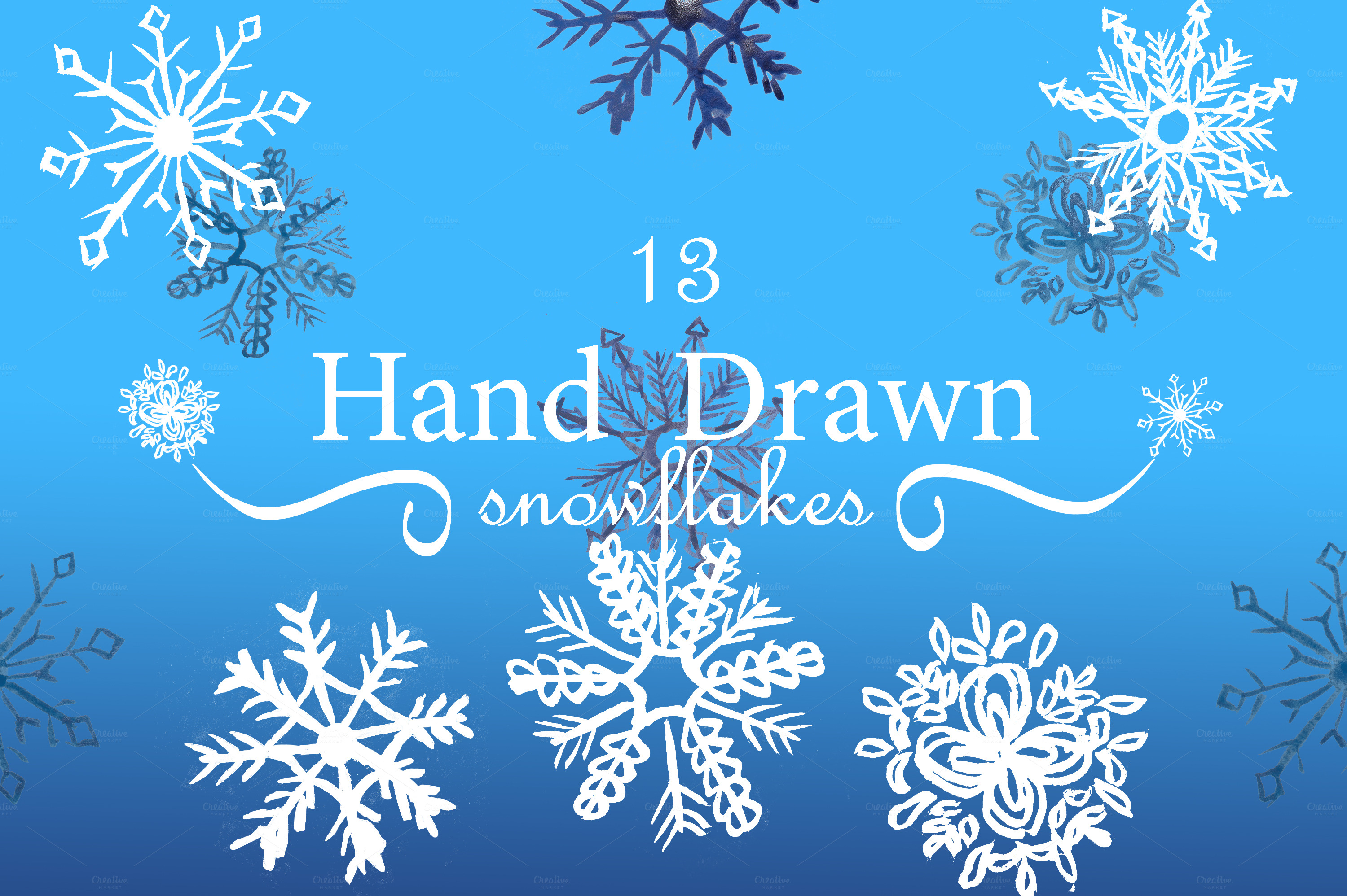 Hand drawn snowflakes objects on creative market