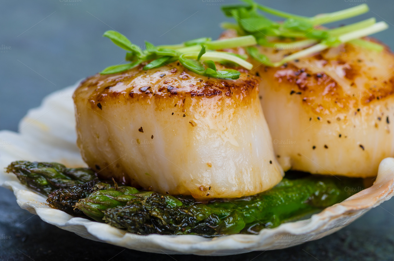 Sauteed scallops with asparagus ~ Nature Photos on Creative Market