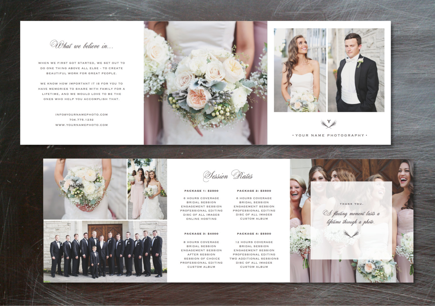 Template trifold pricing guide brochure templates on for Photography brochure templates free