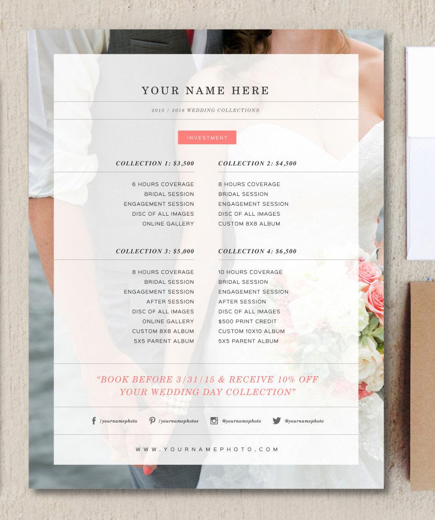 Wedding Photographer Price List Flyer Templates On
