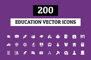200 Education Vector Icons-Graphicriver中文最全的素材分享平台