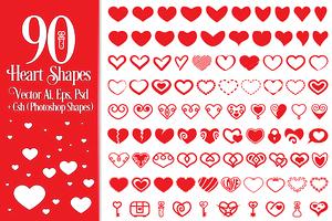 90 Vector Heart Shapes