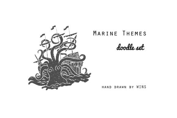 Marine Themes & Tattoo. Doodle set - Illustrations