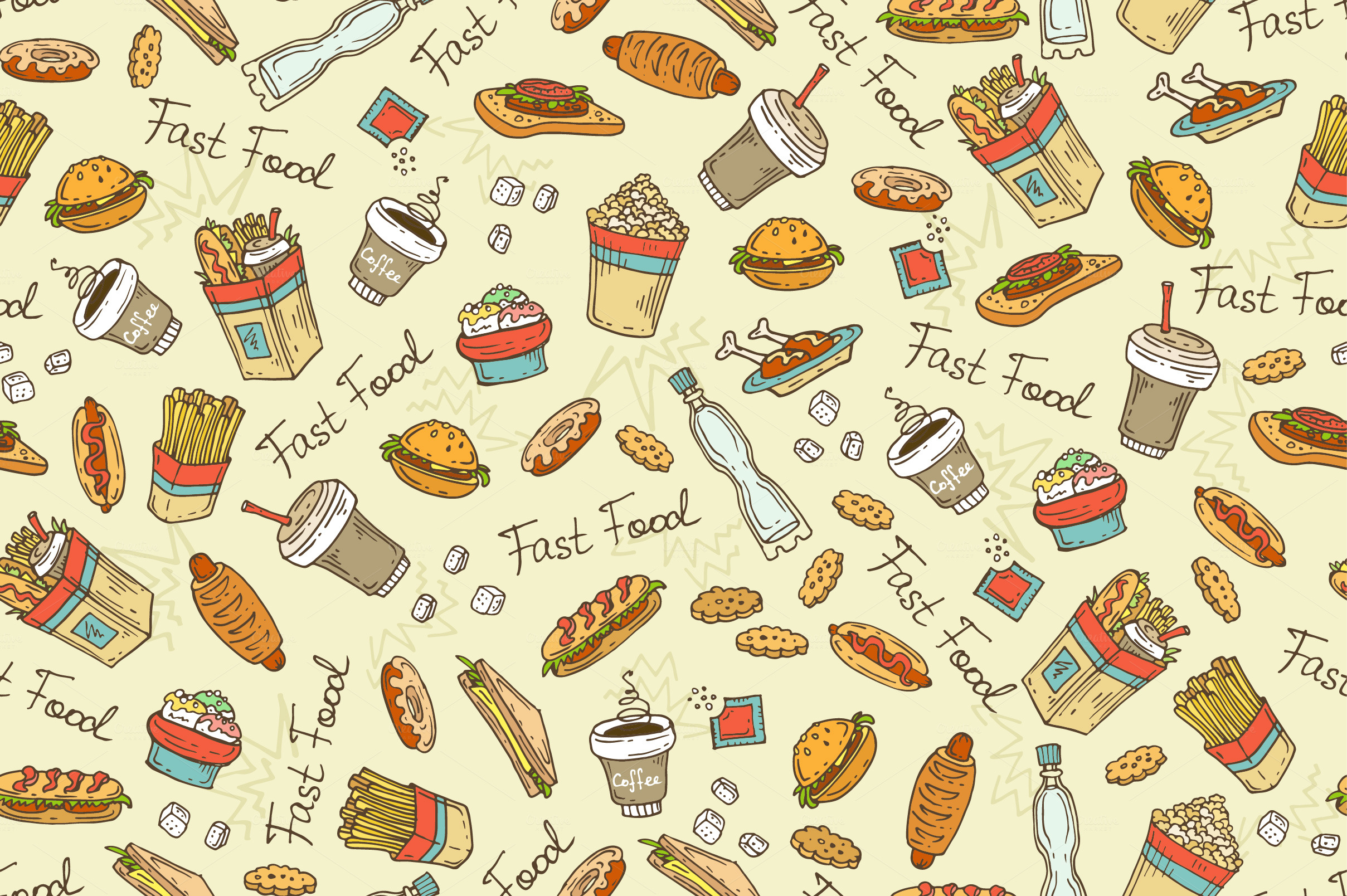 Pattern with hand drawn fast food ~ Patterns on Creative Market