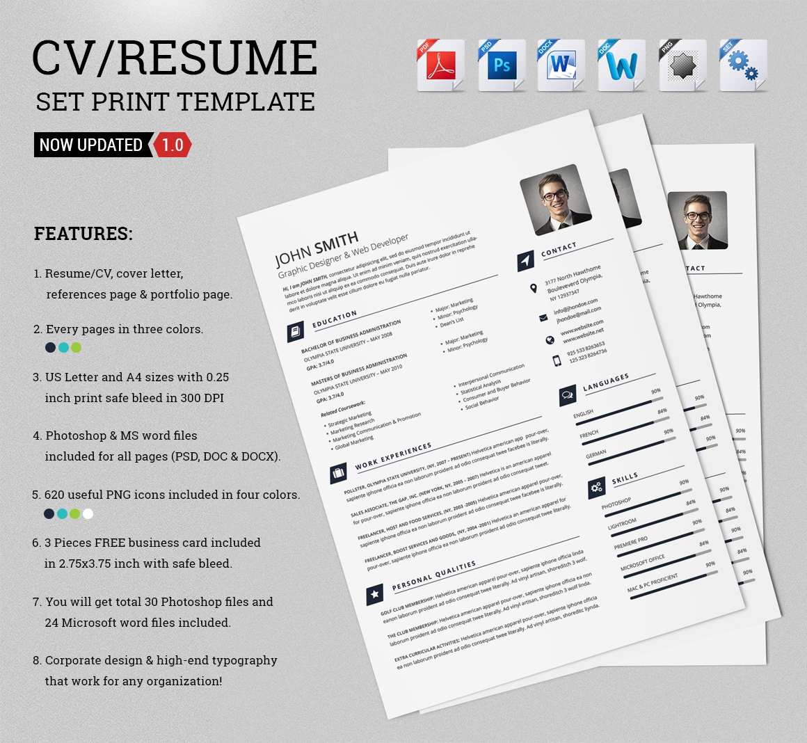 CV Resume Set Print Template Resume Templates on Creative Market
