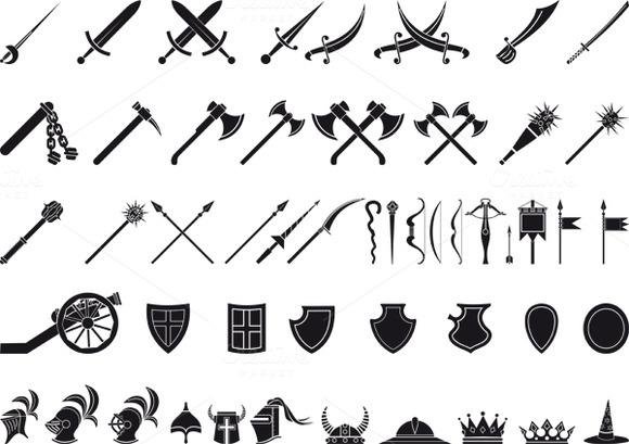 Large Icon Set Large Set of Medieval