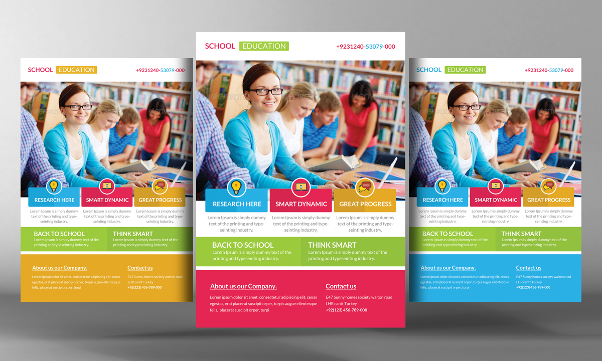 Education flyer template flyer templates on creative market for School brochure template free
