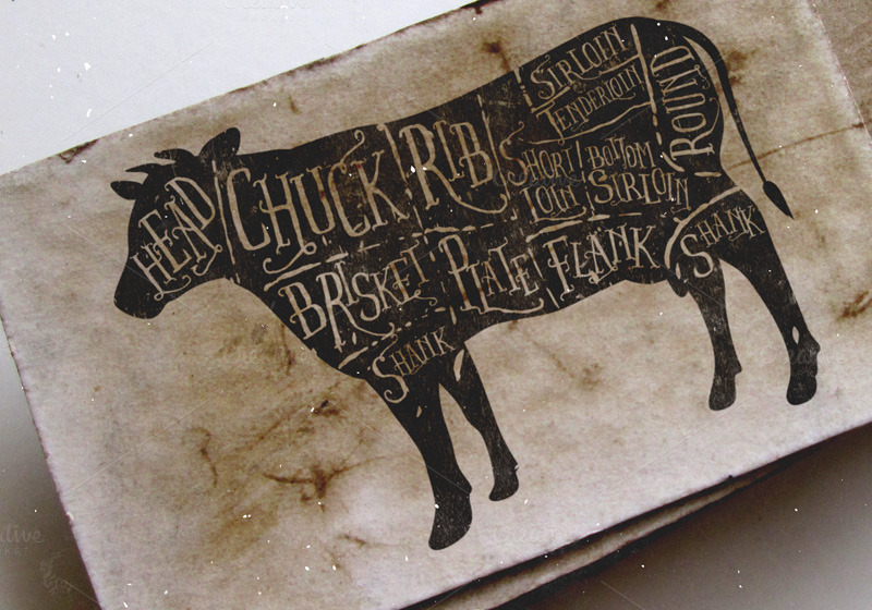 Vintage Butcher Cuts Of Beef Diagram Illustrations On