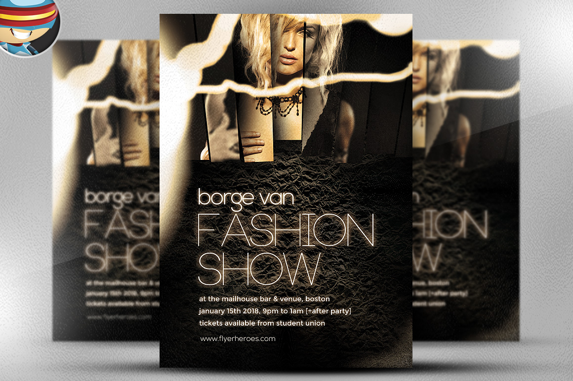 fashion show flyer template flyer templates on creative market. Black Bedroom Furniture Sets. Home Design Ideas