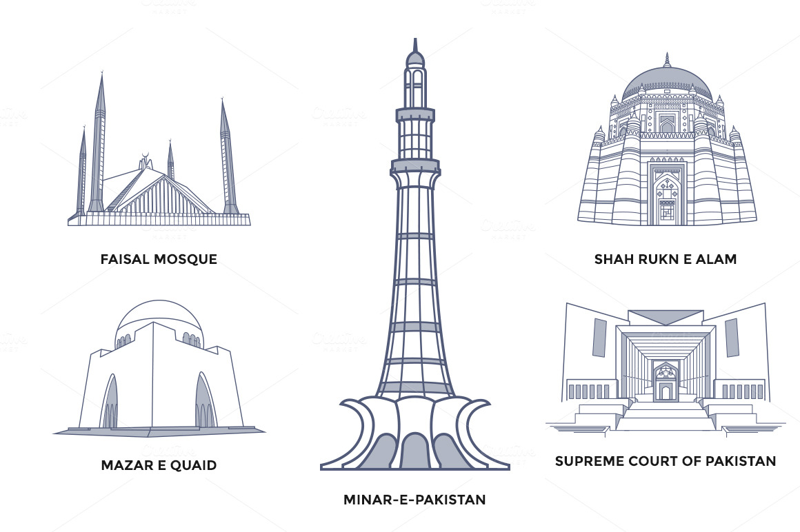 Line Drawing Of Quaid E Azam : Pakistan landmarks illustrations on creative market