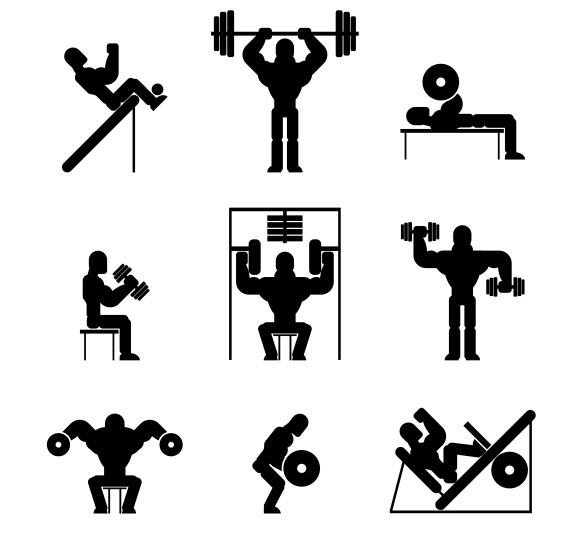 Bodybuilding and Weightlifting Icons ~ Icons on Creative
