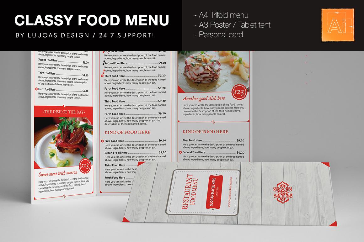 Classy food menu brochure templates on creative market for Classy brochure design