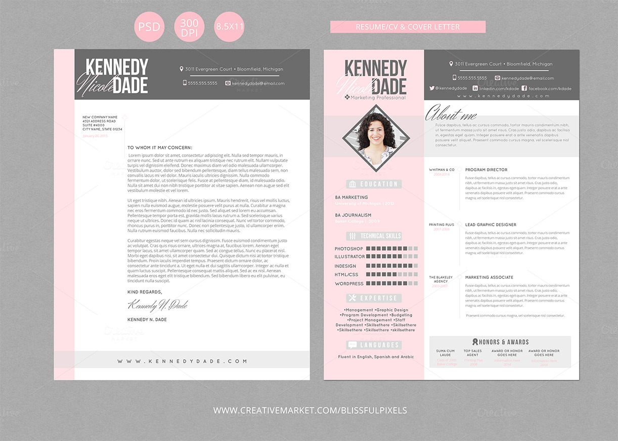 resume cv  u0026 cover letter template