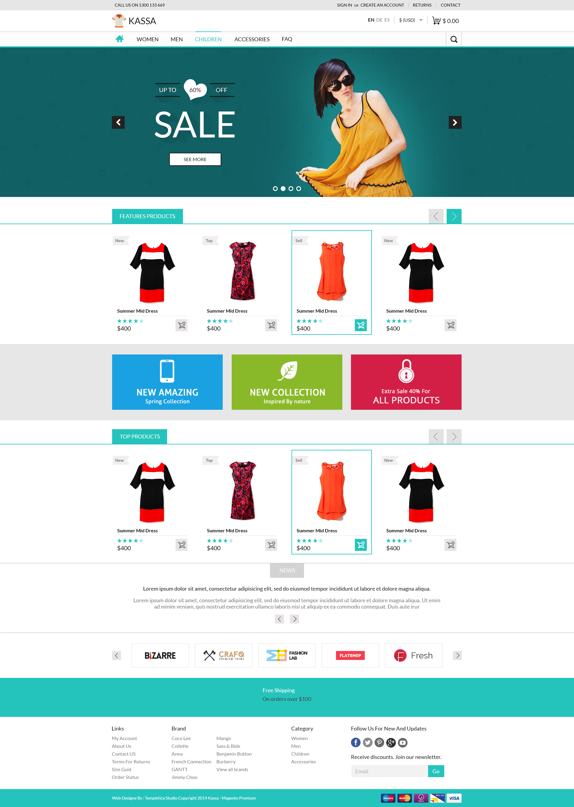 Kassa e commerce psd tempalte website templates on for E commerce sites templates