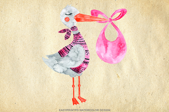 watercolor stork baby girl clip art
